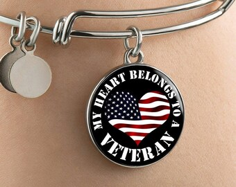 My Heart Belongs To A Veteran - Bangle Bracelet - Deployment Gift - Veterans Day