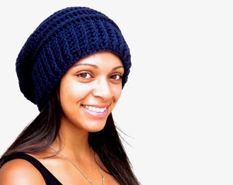 Crochet Slouchy Hat, Tam Hat, Hippie Hat, Beehive Hat, Crochet Hat, Color is Navy Blue,