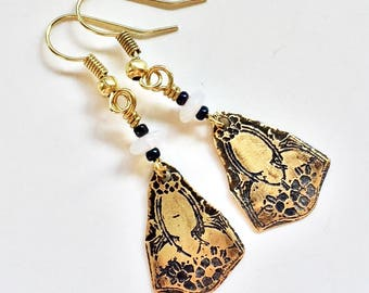 Etched Brass Earrings, Art Deco Earrings Moonstone Beads - Free Domestic Shipping