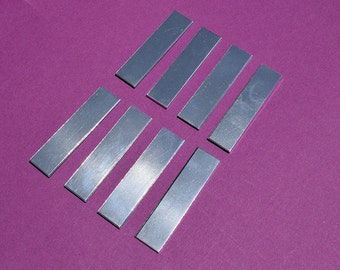 "25 - 5052 Aluminum 3/8"" x 2"" Rectangle Blanks - NO HOLES - Polished Metal Stamping Blanks - 14G 5052 Aluminum"