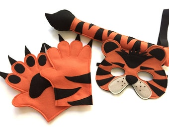 Children's Safari Jungle TIGER Animal Felt Costume Set Mask Tail and Paws