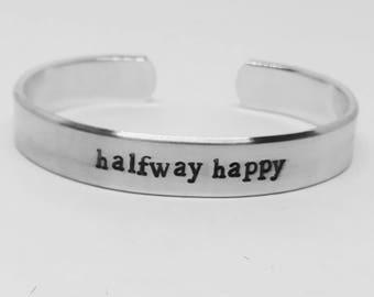 "Halfway happy: Stranger Things Season 2 inspired unisex fandom aluminum 6"" cuff bracelet"