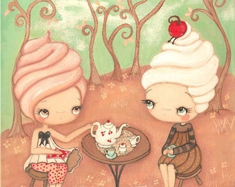 Cupcake Print Girl Friends Cherry Sprinkle Kids Cute Kitchen Decor Wall Art--- Tea And Frosting