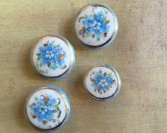 Victorian Porcelain Stud Buttons with Painted Flowers.