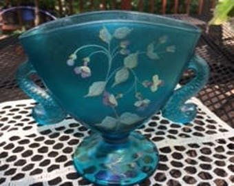 Fenton dolphin handled Fan Vase blue iridescent