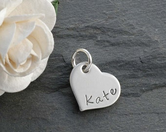 Sterling Silver Heart Add On Charm - Personalized - 1/2""