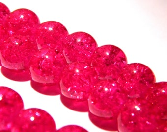 20 fuchsia glass beads Crackle 10 mm-dark - PG145