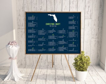 Wedding Seating Chart (State of the Union) - Digital File, DIY, pdf, Printable, State, Florida, Destination, Travel, Blue and Green, Modern