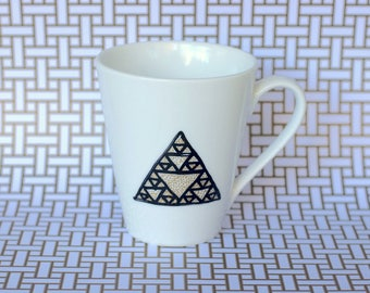 Legend of Zelda Tri Force inspired mug - infinite triangle geometric design