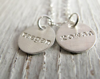 Mother's Gift,  Personalized Mother's Necklace, Grandmother Jewelry, Hand Stamped, Christmas Gift