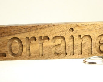 Wood Name Keychain, wooden keychain, personalized key chain, Customized to Order, bespoke key ring gift