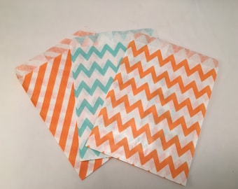 Assorted Paper Candy Bags,  10+ Orange and Turquoise Stripe and Chevron Paper Candy Bags
