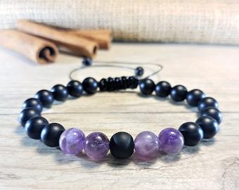 Black Onyx Bracelet, Amethyst Bracelet, 21 Mala Bracelet, Prayer Beads, Men Bead Bracelet, Men Mala Bracelet, Energy Bracelet, Men Yoga