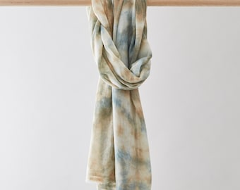 Cashmere pashmina scarf dyed with natural dyes, blue, green, beige. Shibori scarf, shawl or wrap birthday gift. Tie dye. FREE SHIPPING