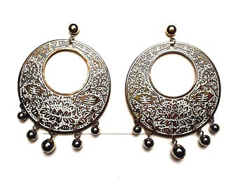 Hammered Brass Kundan Dangle Earrings