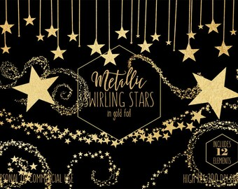 GOLD FOIL STARS Clipart for Commercial Use Clip Art Metallic Gold Star Banner Border Celestial Night Sky Bunting Frame Baby Digital Graphics