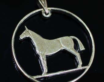 Ireland 20 Pence Cut Coin Pendant Irish necklace harp Hunting horse stallion