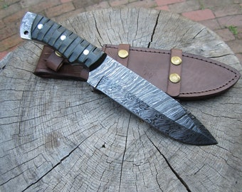 Damascus Steel Survival Bowie Knife with Olive Drab Micarta Handle