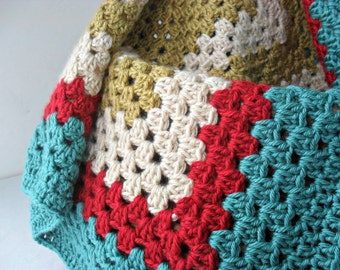 baby blanket crocheted granny square afghan turquoise red stripe gender neutral