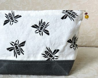 Honey Bee Zip Pouch, Hand Printed Fabric and Waxed Canvas Clutch