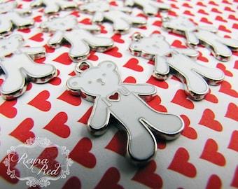 White Teddy Bear Enamel Charms, stuffed bear pendant, teddy bear pendant, Valentines Day charms, enamel bear focal - reynared s