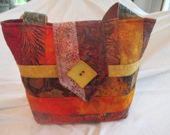 Quilted Batik Autumn Purse