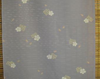 "SILK KIMONO FABRIC Vintage Japanese See Through Silk Violet Purple Ro Silk Kimono Fabric Unused Vintage Flower Summer Silk Fabric 14""W by yd"
