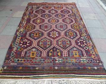 """VINTAGE Turkish Large Kilim Rug,Caucasian Kilim,Area Antique Kilim Rug, Rugs  68,1"""" X 114,9"""""""