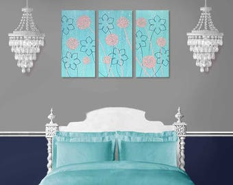 Nursery Wall Art Triptych, Canvas Painting with Textured Flowers, Pink and Aqua Art - 32x20