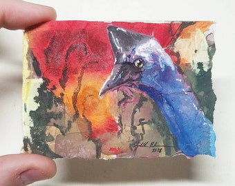 "Original Collage ACEO ""Cassowary"""