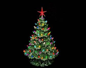Tabletop Christmas tree - Vintage Style - Electric Lighted Christmas Tree - Large 14 inch -Nostalgic  Christmas - Christmas Decor