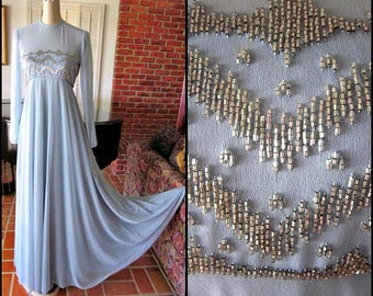 Victoria Royal Blue Beaded Gown / 70s Vintage Gown / New Victoria Royal 70s Gown / fits S / 70s New Modest Gown / 70s Blue Gown