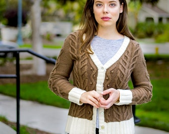 INSTANT DOWNLOAD PDF Knitting Pattern for Women's Cable Cardigan with Cable and Bobbles Long Sleeves V-Neck One piece Seamless Brails