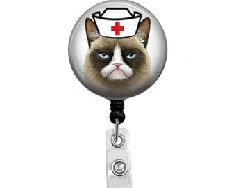 Grumpy Cat Nurse - Badge Reel Retractable ID Badge Holder