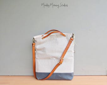 Vintage Style Cotton Ticking Messenger Bag in Grey, Striped Crossbody with Waxed Canvas Bottom, Convertible Foldover Tote with Leather Strap