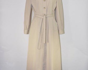 80s belted trench coat / 1980s classic khaki trench / waterproof rain coat