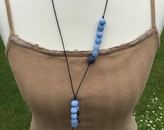 Blue Agate YNecklace, Handmade YNecklace, Edinburgh Designer K Brown Jewellery