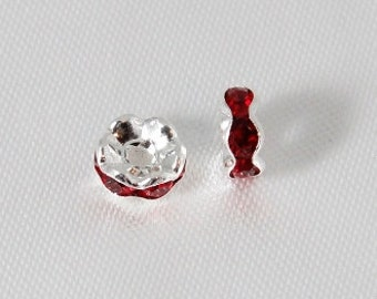 10 pcs - 6mm Rhinestone Rondelles Silver With Siam Ruby Red