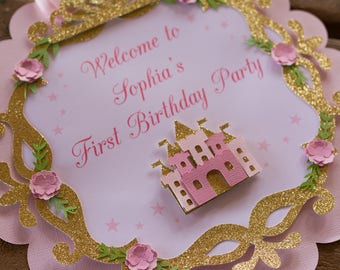 princess first birthday sign - princess 1st birthday sign - princess sign - princess party sign - princess crown welcome sign -