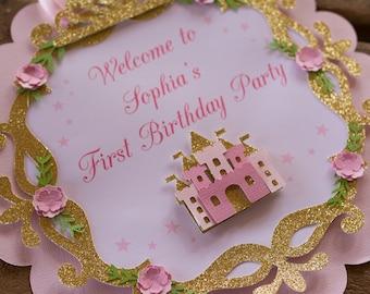 princesse premier anniversaire - princesse 1er anniversaire signe - princesse - princesse partie signe - Couronne de princesse Bienvenue signe-