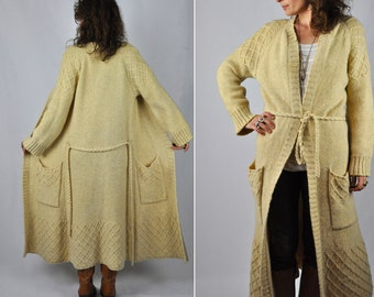 SALE Hand Knitted Wool long Sweater Cardigan - Fisherman Cardigan -  Chunky Cable Knit Cardigan - Ireland Ivory Cream Winter S - M
