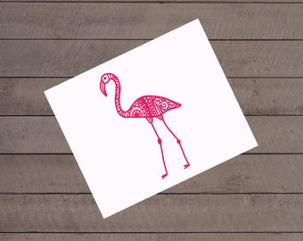 Flamingo Decal, Bird Decal, Vinyl Decal, Car Decal, Phone Decal, Pink Bird Sticker, Flamingo Sticker, Gift Under 20, GIft for Mom, Flamingo