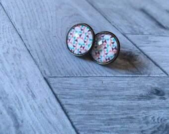Geometric Stud cabochon earrings