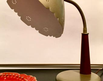 Vintage Retro Adjustable Goose Neck Desk Lamp Wood and Metal with Large Cone Shade Scalloped Edge and Pin Prick Detail