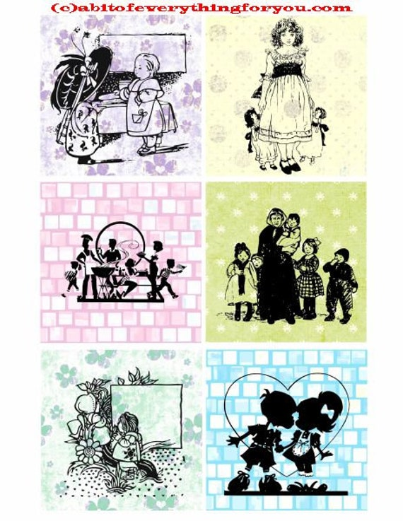 """children silhouettes pastel patterns collage sheet 3.4"""" inch squares images clip art digital downloadable graphics images diy crafts cards"""