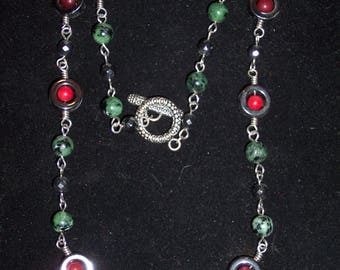 Wire Wrapped Hematite, Coral & Ruby Zoisite Necklace with Toggle Clasp
