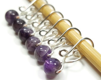 Removable Stitch Markers - Amethyst Melody - Stitch Markers - Small, Medium, Large, or XL