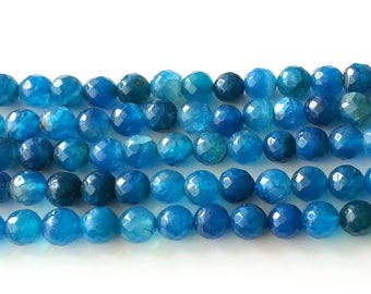 Blue faceted agate 8mm beads - agate beads - blue beads - gemstone beads