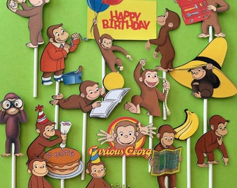 Curious George cupcake toppers, Curious George cake topper, Curious George birthday, Curious George party, monkey cupcake toppers