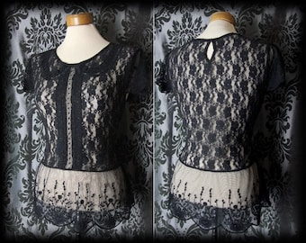 Gothic Black Lace Peter Pan Collar DEADLY DOLL Blouse Top 10 12 Victorian Lolita